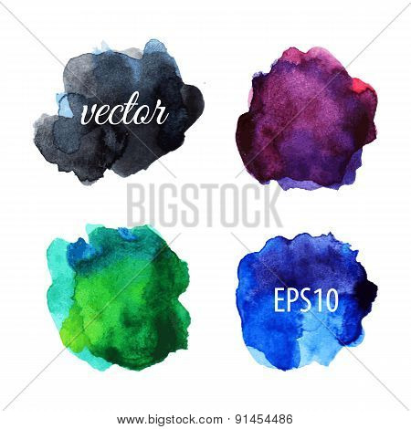 Watercolor blots isolated on white background