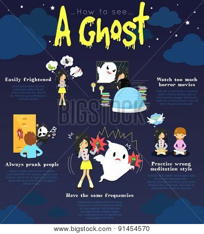 How To See A Ghost Infographic Template Design With Sample Edible Text Layout, Create By Vector