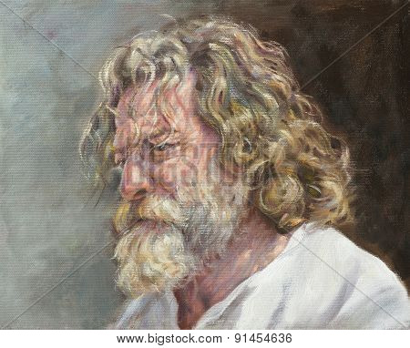 Oil Portrait Of A Man With A Bushy White Beard
