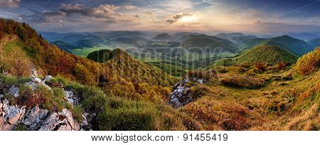 Green Spring Slovakia Mountain Nature Landscape With Sun And Cross