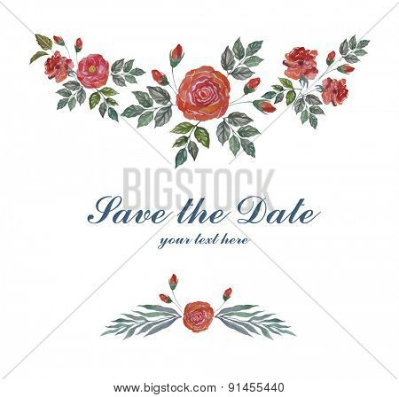 Watercolor Greeting Card with  Roses for Wedding, Invitation, Valentine's Day. Vector Floral Frame.