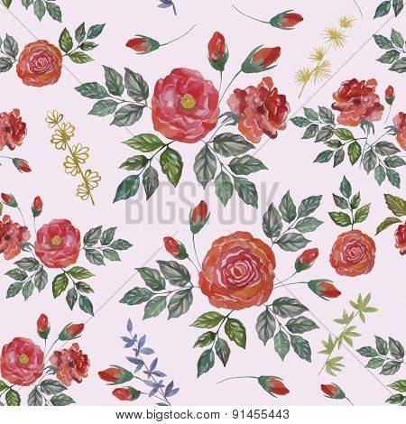 Seamless Watercolor Pattern with Red Roses. Vector Fabric Background.