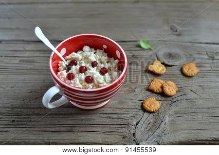 Cottage Cheese In A Red Bowl On A Wooden Surface In A Vintage Style And Biscuits