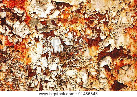 Rusty on steel background