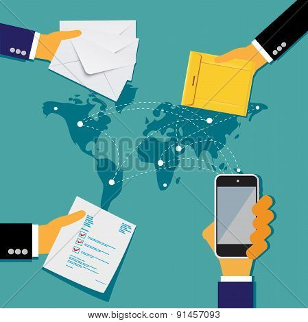 hands with envelopes, communication