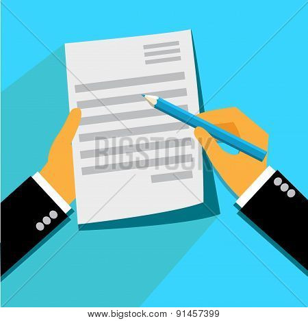 Signing, contract, form, flat, illustration