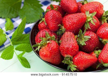 Fresh ripe red strawberries