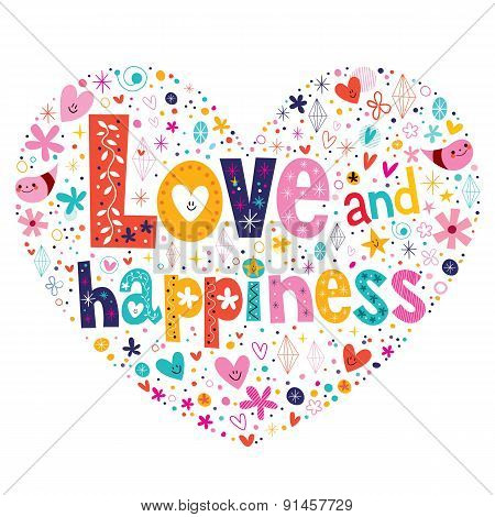 Love and happiness typography lettering decorative text heart shaped design
