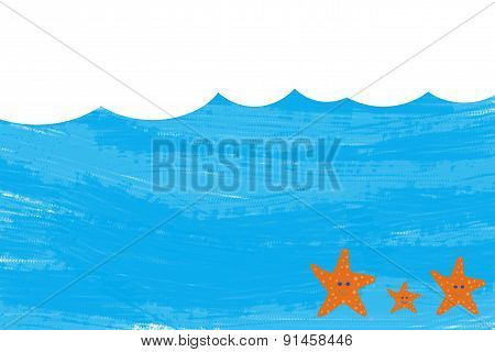 Blue waves in summer with empty space for text