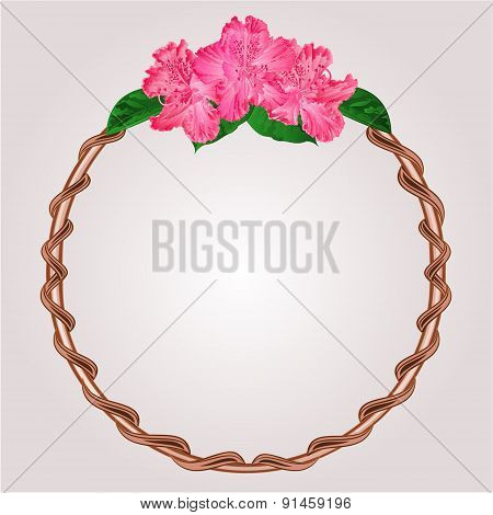 Round Frame With Rhododendron Flowers Vector