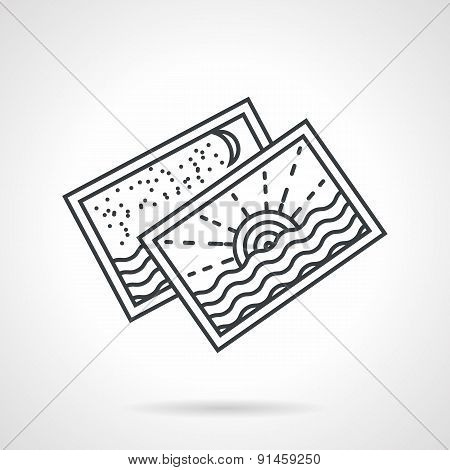 Seascape postcards line vector icon