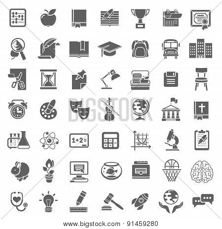 Plain School Icons Monochrome Silhouettes