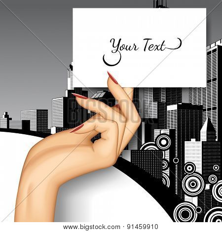 Female hand holding business card on retro city background. Vector illustration