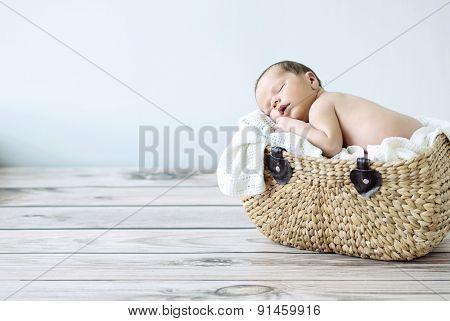 Portrait of a little sweet newborn baby