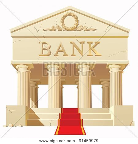Bank building in antique style with a red carpet. Vector Illustration