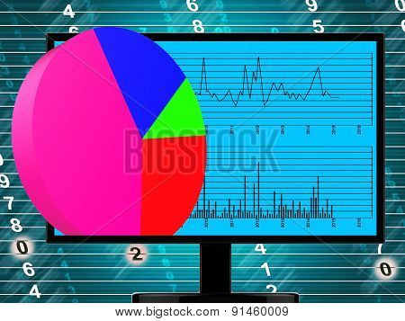 Pie Chart Online Represents Financial Report And Web