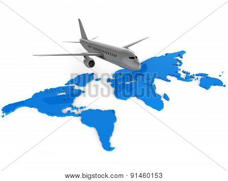 Worldwide Flights Means Web Site And Aeroplane