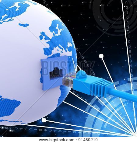 Worldwide Connection Means Network Server And Computer