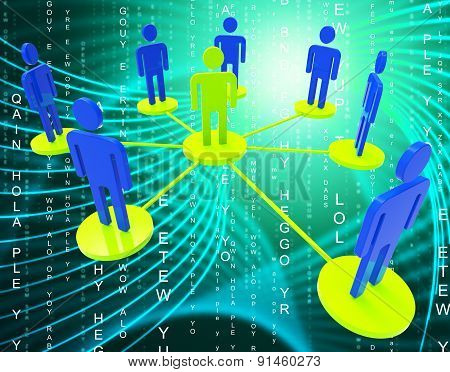 Network Of People Means Global Communications And Communicate