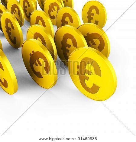Euro Coins Represents Business Savings And Commerce