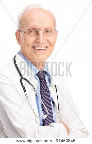 Vertical shot of a cheerful mature doctor carrying a stethoscope and smiling isolated on white background