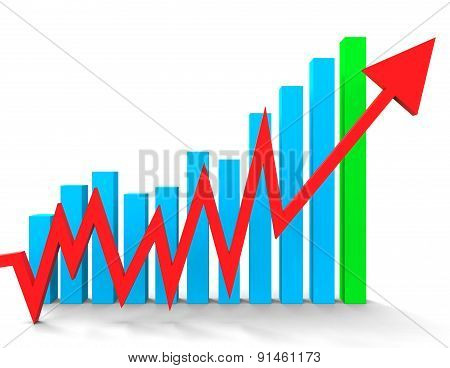 Increasing Graph Shows Financial Report And Advance