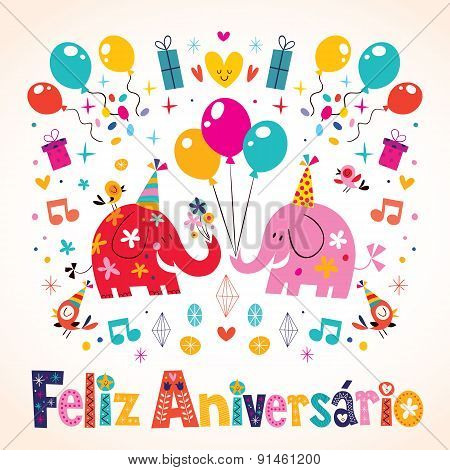 Feliz Aniversario Portuguese Happy Birthday cute elephants card