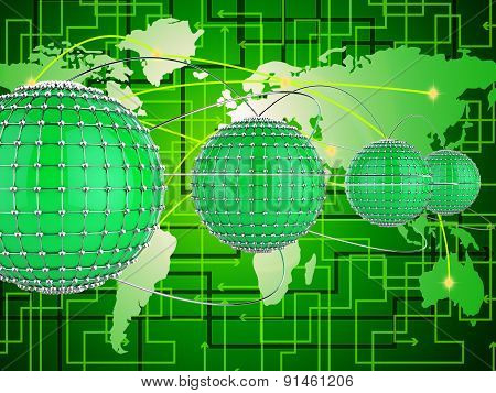 Interconnected Network Represents Networks Globe And World