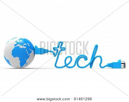 Global Tech Means World Wide Web And Earth
