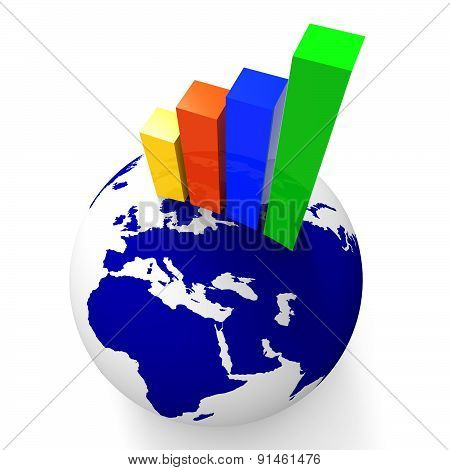 Increase Graph Worldwide Shows Graphics Globe And Statistic