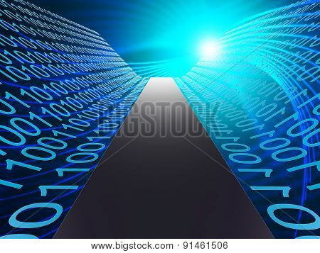 Digital Path Represents Hi Tech And Data