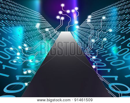 Digital Path Represents Hi Tech And Computer