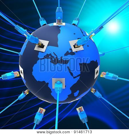 Worldwide Network Means Web Site And Connection