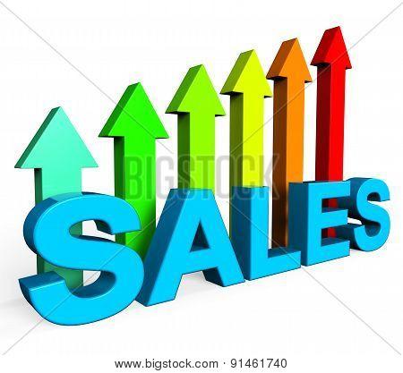 Sales Increasing Indicates Progress Report And Data