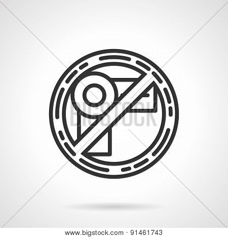 Prohibition shooting sign black vector icon