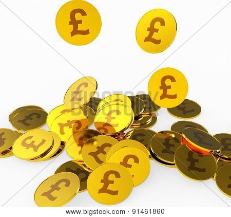 Pound Coins Shows British Pounds And Finance