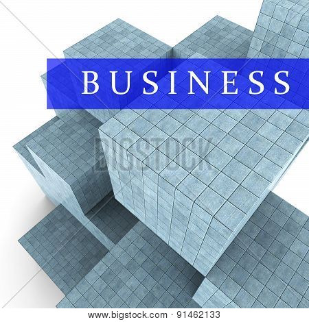 Business Blocks Design Represents Building Activity And Commercial