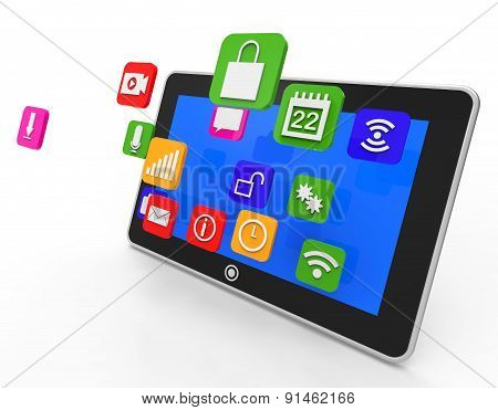 Social Media Tablet Shows Computer Apps And Portable