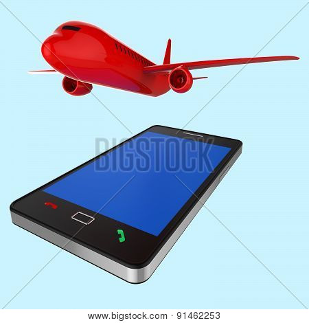 Flight Online Indicates World Wide Web And Www