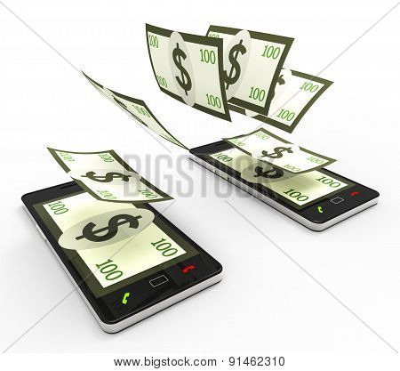 Transfer Dollars Online Indicates World Wide Web And Phone