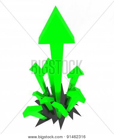 Arrows Up Represents Gain Rising And Smash