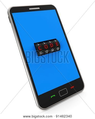 Secure Phone Indicates World Wide Web And Lock