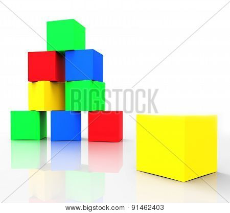 Kids Blocks Indicates Colors Cube And Spectrum