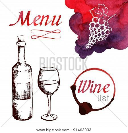 Sketch of wine with watercolor stains
