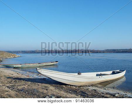Fishing boats on the river Vistula.