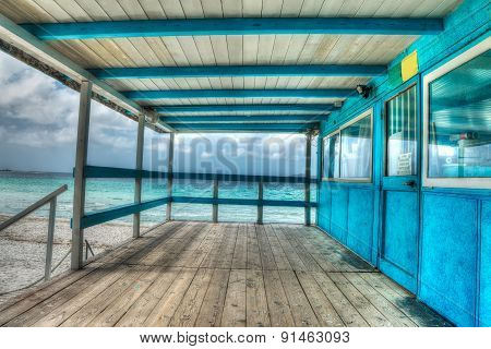Wooden Terrace By The Shore In Sardinia In Hdr