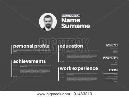 Vector minimalist cv / resume template with nice typogrgaphy design - horizontal version