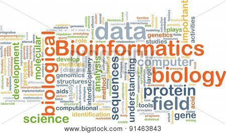Background concept wordcloud illustration of bioinformatics