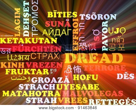 Background concept wordcloud multilanguage international many language illustration of dread glowing light