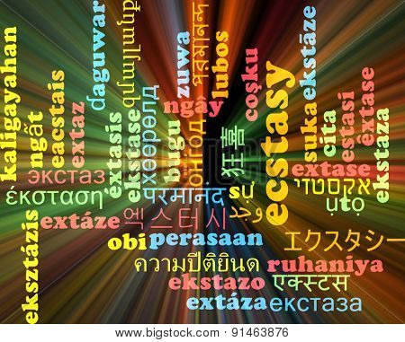Background concept wordcloud multilanguage international many language illustration of ecstasy glowing light